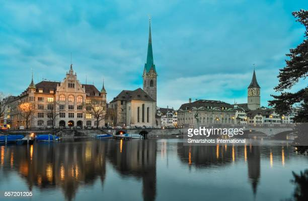 Zurich skyline reflected at dusk, Switzerland