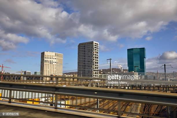zurich urban skyline with prime tower (right) - zurich stock pictures, royalty-free photos & images