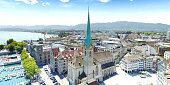 Zurich's Fraumunster -  Church of Our Lady from above