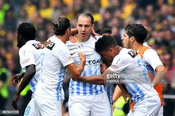 FC Zurich's Swiss forward Michael Frey celebrates with his teammates after scoring his team's first goal during the Swiss Football Cup final football...