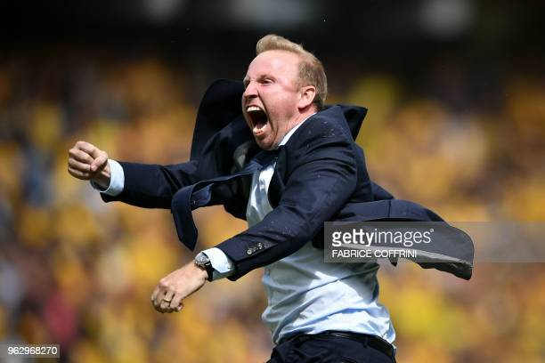 FC Zurich's Swiss head coach Ludovic Magnin celebrates after winning the Swiss Football Cup final match between FC Zurich and BSC Young Boys at the...