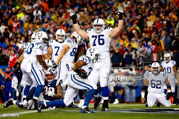 Zurlon Tipton of the Indianapolis Colts scores a touchdown in the second quarter against the Indianapolis Colts of the 2015 AFC Championship Game at...