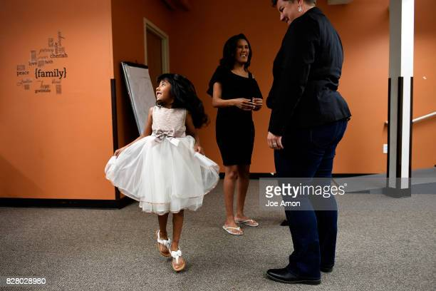 Zury Baez 6 showing off her new dress as she her mother Jeanette Vizguerra center make ready for their version of the 2017 'Time 100' Gala Vizguerra...