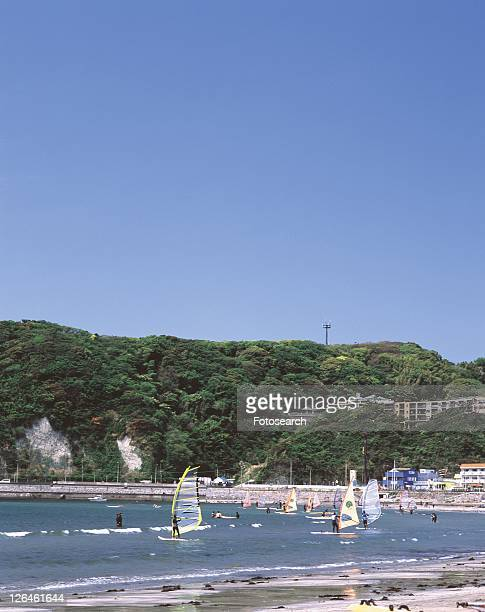 Zushi Beach, Shonan, Kanagawa Prefecture, Japan, High Angle View, Pan Focus