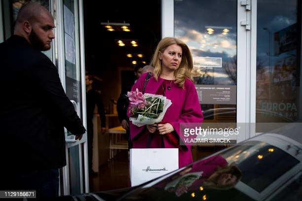 Zuzana Caputova a candidate in upcoming Slovak presidential elections leaves a campaign meeting with citizens in Dunajska Streda on March 7 2019...