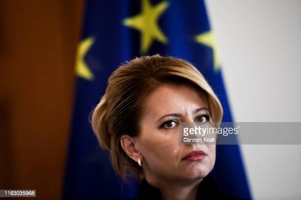 Zuzana Caputova new Slovak President attends a pressconference with German President FrankWalter Steinmeier at Schloss Bellevue on August 21 2019 in...