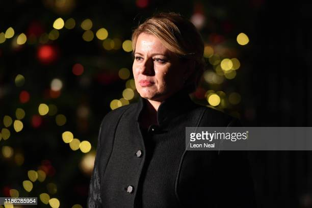 Zuzana Caputova President of Slovakia leaves number 10 Downing Street after a reception on December 3 2019 in London England France and the UK signed...