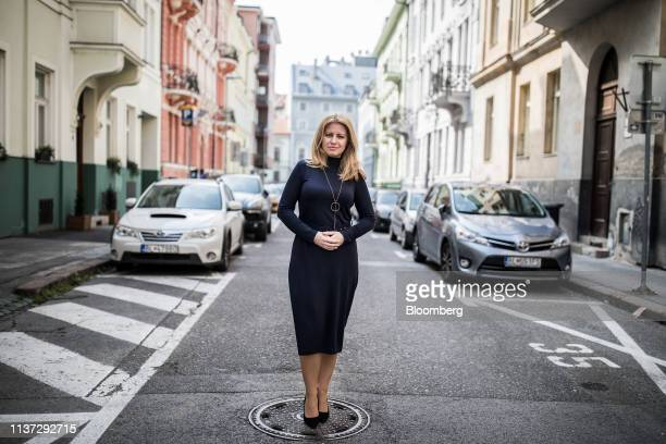 Zuzana Caputova Slovakia's presidentelect poses for a photograph following an interview in Bratislava Slovakia on Friday April 12 2019 The former NGO...