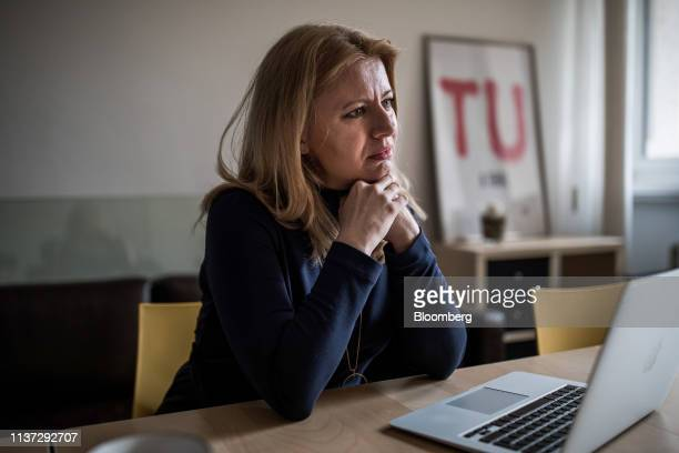 Zuzana Caputova Slovakia's presidentelect speaks during an interview in Bratislava Slovakia on Friday April 12 2019 The former NGO lawyer ran in the...