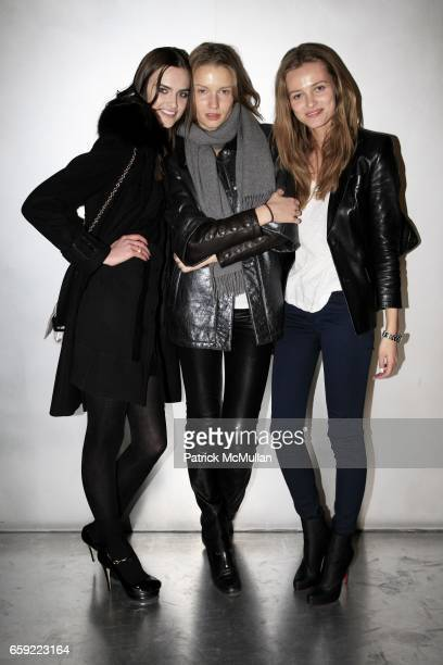 Zuzana Gregorova, Laura Blokhina and Edita Vilkeviciute attend THE ICONOCLASTS at PRADA Broadway at Prada Broadway on February 13, 2009 in New York...