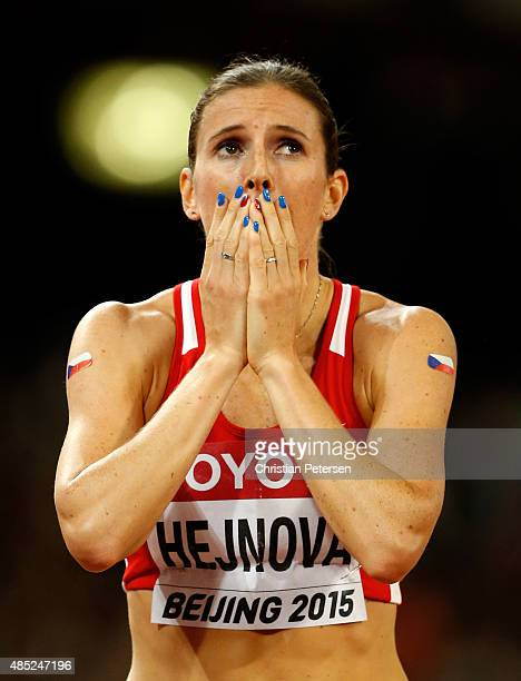Zuzana Hejnova of the Czech Republic celebrates after winning gold in the Women's 400 metres hurdles final during day five of the 15th IAAF World...
