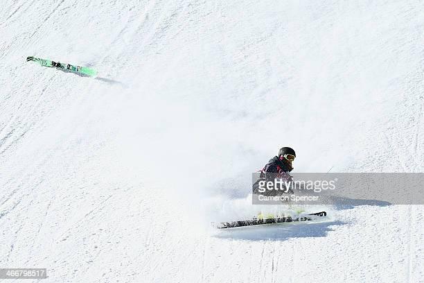 Zuzana Stromkova of Slovakia crashes during a Ski Slopestyle practice at the Extreme Park at Rosa Khutor Mountain ahead of the Sochi 2014 Winter...