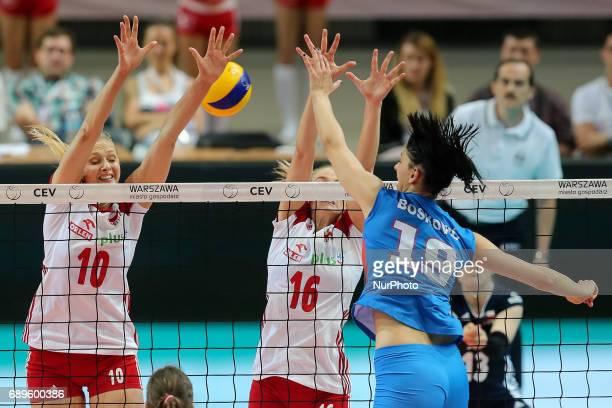 Zuzanna Efimienko Natalia Medrzyk Tijana Boskovic during 2017 FIVB Volleyball World Championship Women European Qualification between Poland and...