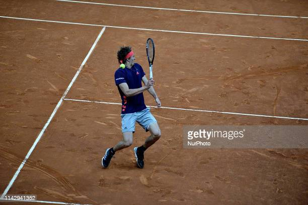 Zverev of Germany plays in Quarterfinals match against Tsitsipas of Greece in the Mutua Madrid Open at La Caja Magica in Madrid on 10th May 2019