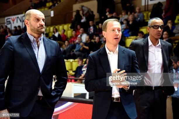 Zvezdan Mitrovic coach Sergey Dyadechko president and Olivier Basset assistant coach of Monaco during the Pro A match between Monaco and Gravelines...