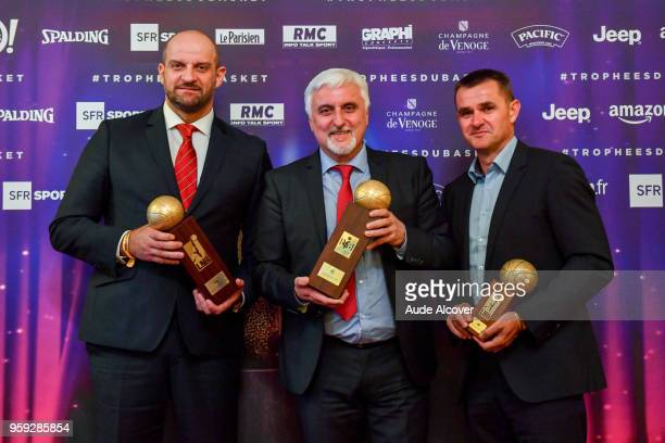 Zvezdan Mitrovic Francois Gomez and Mickael Hay during the Trophy Award LNB Basketball at Salle Gaveau on May 16 2018 in Paris France