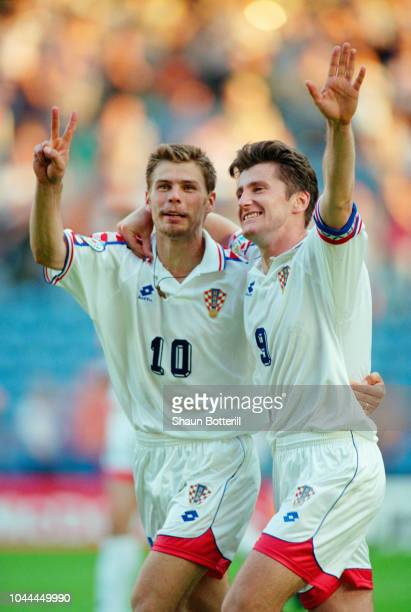 Zvonimir Boban and goalscorer Davor Suker celebrate their second goal in a 30 win against Denmark at Hillsbrough in the 1996 UEFA European...