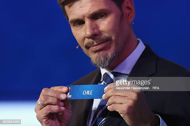 Zvonimir Boban, deputy general secretary for football holds up the name of Chile during the Official Draw for the FIFA Confederations Cup Russia 2017...