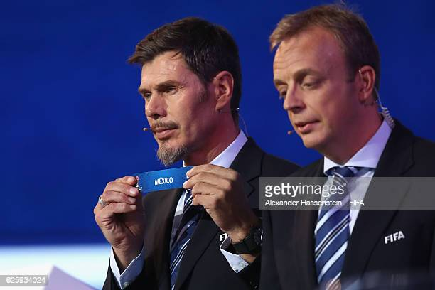 Zvonimir Boban, deputy general secretary for football holds up the name of Mexico during the Official Draw for the FIFA Confederations Cup Russia...