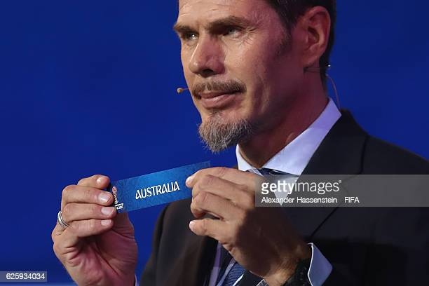 Zvonimir Boban, deputy general secretary for football holds up the name of Australia during the Official Draw for the FIFA Confederations Cup Russia...