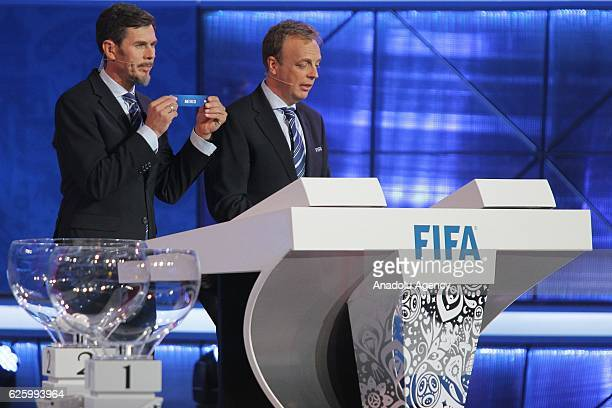 Zvonimir Boban , deputy general secretary for football holds up the name of Mexico during the Official Draw for the FIFA Confederations Cup Russia...