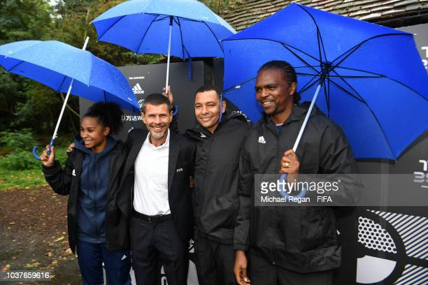 Zvonimir Boban, FIFA Deputy Secretary General pose for a photo with Laura Georges, Gilberto Silva and Nwankwo Kanu during FIFA Legends Fan Activity...
