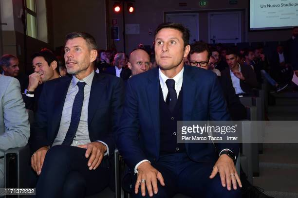 Zvonimir Boban of AC Milan and Javier Zanetti of FC Inter attend the 'Uno Stadio Per Milano' Conference on September 26, 2019 in Milan, Italy.