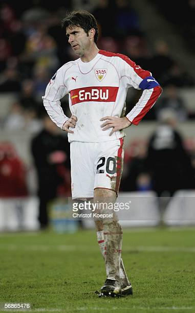 Zvonimir Soldo of Stuttgart looks dejected during the UEFA Cup Round of 32 match between VFB Stuttgart and FC Middlesbrough at the...