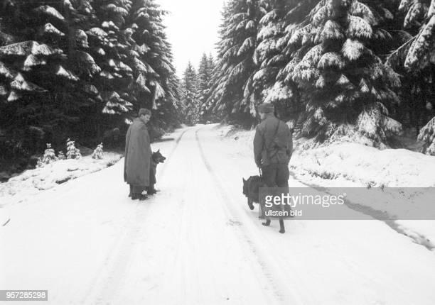 Zwei DDRGrenzsoldaten einer NVAGrenzkompanie bei Schierke am Brocken im Harz auf einem Kontrollgang mit Hunden im Grenzgebiet der innerdeutschen...