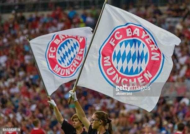 Zwei Fahnen mit dem Bayernlogo vor der Zuschauertribuene waehrend dem Fussball AUDI CUP 2015 Bayern Muenchen gegen AC Mailand in der Allianz Arena am...