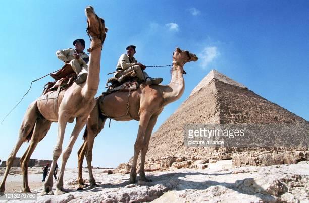 Zwei ägyptische Polizisten auf ihren Dromedaren auf Streife vor der ChephrenPyramide bei Kairo aufgenommen am 1881997 Trotz großer...