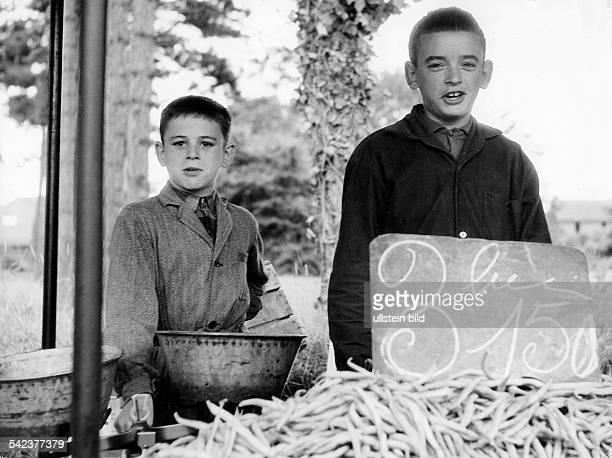 zwei Jungen beim Gemüseverkauf in RivaBellaOuistreham NormandieKüste 1963
