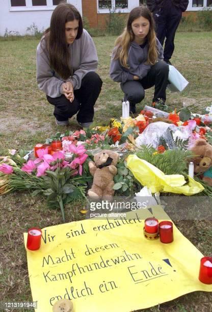 Zwei Mädchen knien am 27.6.2000 im Hamburger Stadtteil Wilhelmsburg an der Stelle, wo am Tag zuvor der sechsjährige Volkan von zwei Kampfhunden...