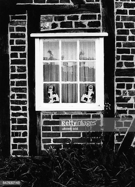 Zwei Porzellanhunde im Fenster eines Fachwerkhauses- um 1971