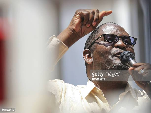 Zwelinzima Vavi secretary general of the Congress of South African Trade Unions speaks to the mineworkers gathered at the rally at the Chamber of...