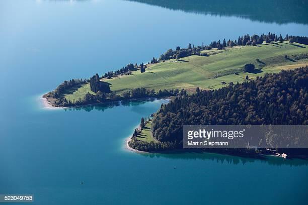 Zwergern peninsula, Lake Walchen, view from Herzogstand mountain, Upper Bavaria, Bavaria, Germany, Europe, PublicGround
