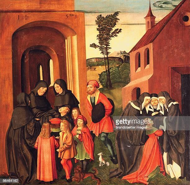 Zwettl Lower Austria Cistercian monastery Monastery church Bernhardi Altar scenes from the life of St Bernhard Panel by J Breu sen 1500 Photography...