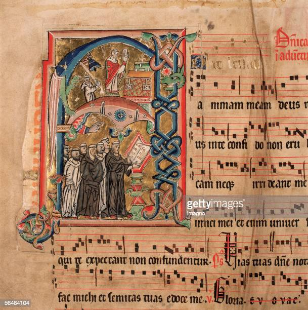 Zwettl Lower Austria Cistercian Monastery Monastery library practising choral singing Miniature in the Graduale Cisterciense Codex 400 folio 1v...