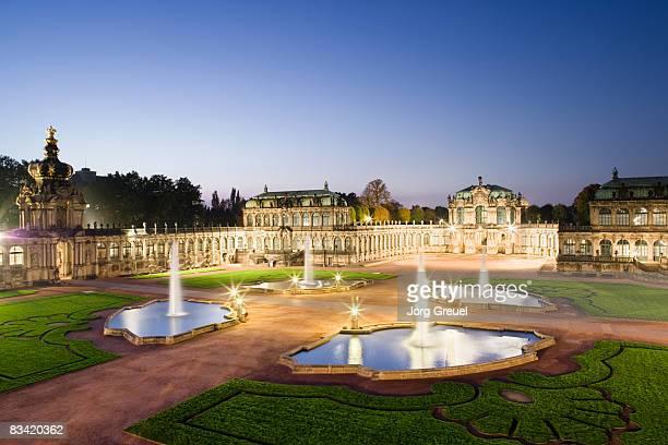 zwinger palace at dusk - dresden stock-fotos und bilder