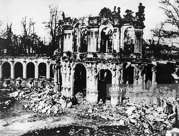 Zwinger palace in dresden germany in ruins after the angloamerican bombing of the city in 1945 at the end of world war 2