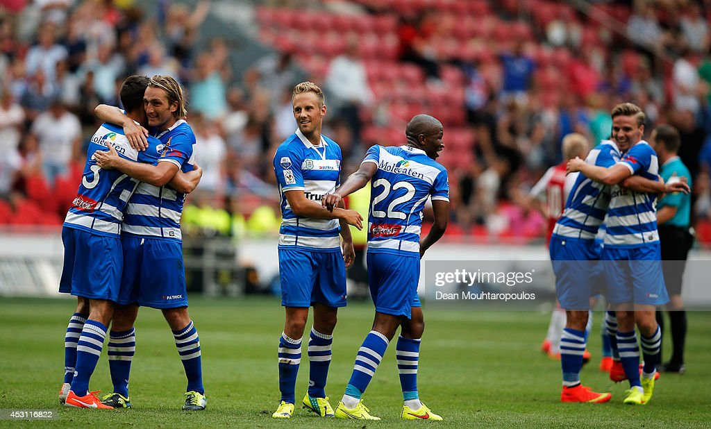 Zwolle players celebrate after winning the 19th Johan Cruijff Shield match between Ajax Amsterdam and PEC Zwolle at the Amsterdam ArenA on August 3, 2014 in Amsterdam, Netherlands.