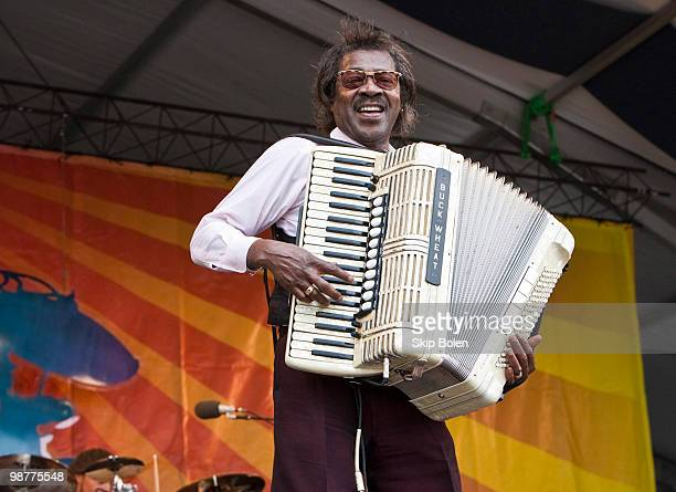 Zydeco accordionist Buckwheat Zydeco performs during day 5 of the 41st Annual New Orleans Jazz Heritage Festival at the Fair Grounds Race Course on...