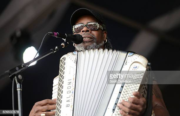 Zydeco musician C.J. Chenier performs onstage at the New Orleans Jazz & Heritage Festival at Fair Grounds Race Course on April 29, 2016 in New...