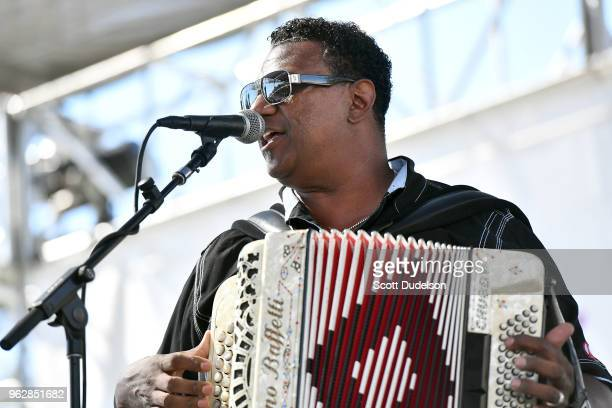 Zydeco singer Chubby Carrier performs onstage during the Simi Valley Cajun and Blues Music Festival on May 26, 2018 in Simi Valley, California.