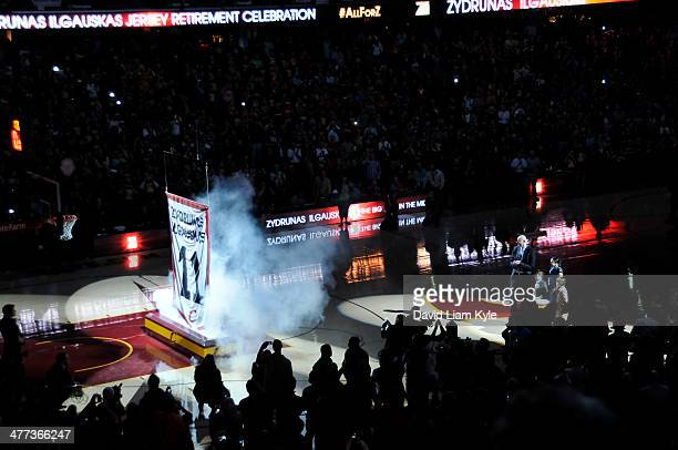 Zydrunas Ilgauskas of the Cleveland Cavaliers gets his jersey retired during halftime of the game against the New York Knicks at The Quicken Loans...
