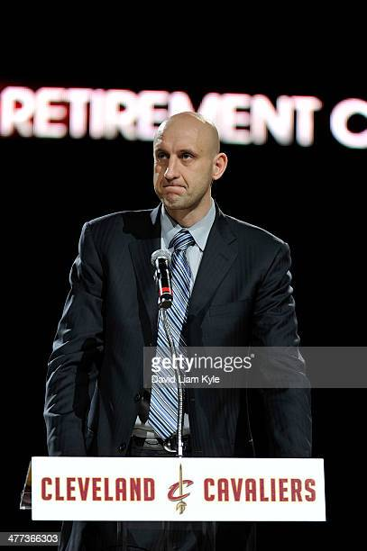 Zydrunas Ilgauskas of the Cleveland Cavaliers makes a speech during halftime of the game against New York Knicks at The Quicken Loans Arena on March...