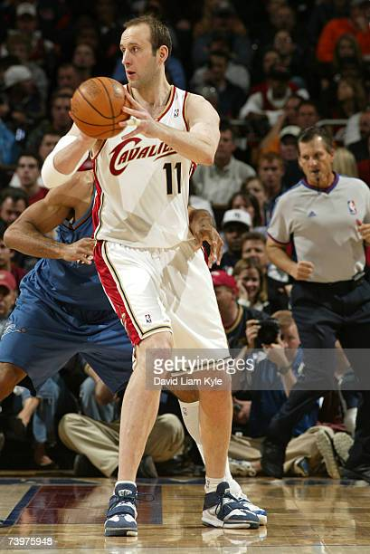 Zydrunas Ilgauskas of the Cleveland Cavaliers passes off against the Washington Wizards in Game Two of the Eastern Conference Quarterfinals during...
