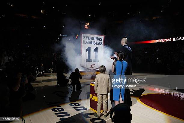 Zydrunas Ilgauskas of the Cleveland Cavaliers retires his jersey during halftime in a game against the New York Knicks at The Quicken Loans Arena on...
