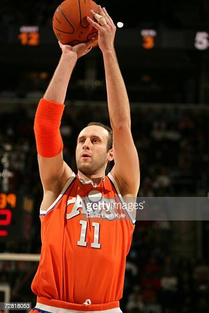 Zydrunas Ilgauskas of the Cleveland Cavaliers shoots a free throw against the Toronto Raptors during the game at Quicken Loans Arena on December 6,...