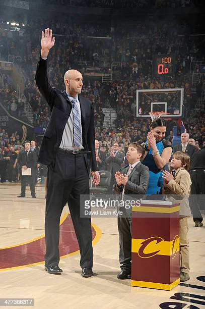Zydrunas Ilgauskas of the Cleveland Cavaliers thanks his fans during halftime of the game against the New York Knicks at The Quicken Loans Arena on...